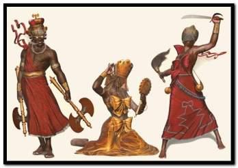 """Xangô, Oxum e Iansã, do ilustrador """"Lambuja"""""""